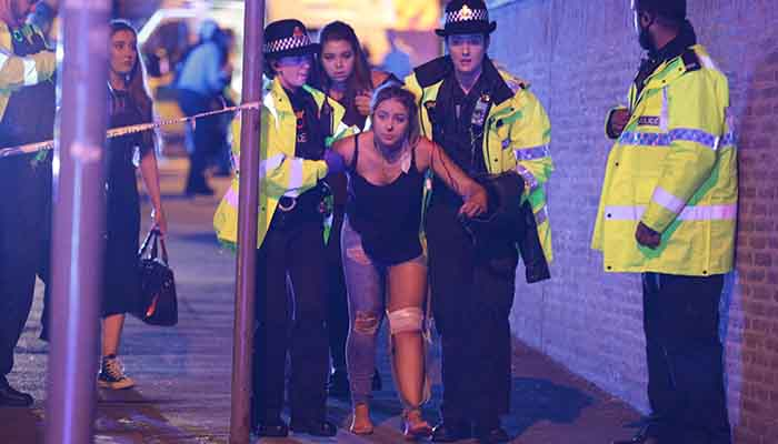 An injured woman, Manchester Bomb Attack